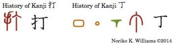 History of Kanji 打 and 丁