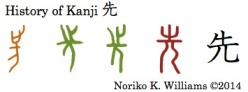 Etymology of the kanji 先