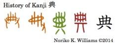 History of the kanji 典