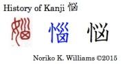 History of the kanji 悩
