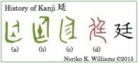 History of Kanji 廷(frame)