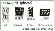 History of Kanji 留 (old kanji photos)
